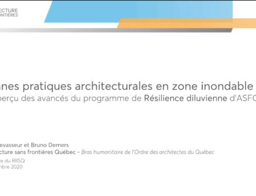 Webinaire RIISQ : Les bonnes pratiques architecturales en zone inondable